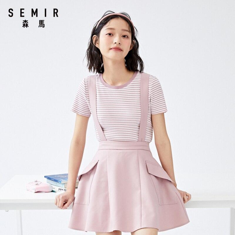 Camiseta de manga corta Semir para mujer, abrigo de verano 2020, nueva versión coreana, camisa de rayas finas