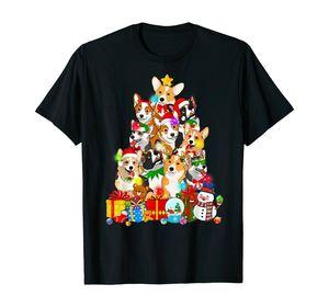 Funny Corgi Christmas Tree Lights Gift Dog Lover T-Shirt Size Harajuku Streetwear Top Men Fashion Oversized T shirt Male