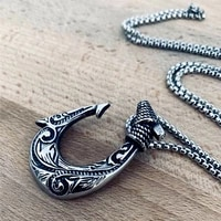 vintage fish hook shape necklace pendant nordic celtic stainless steel viking necklace for men fashion norse talisman jewelry