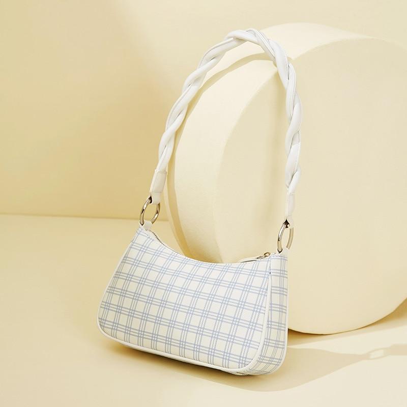 2021 جديد تصميم بمعنى حقيبة يد الإبط حقيبة صندوق مربع صغير موضة بسيطة الفرنسية حقيبة قضبان المرأة حقيبة كتف مفردة
