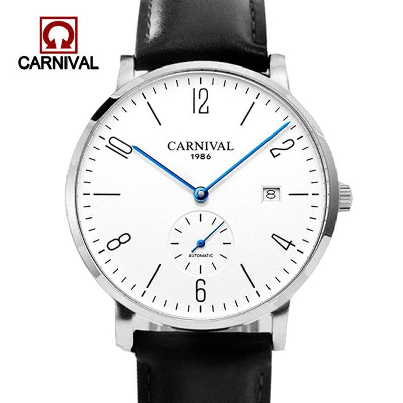 Carnival Brand Fashion Automatic Business Watch Man Luxury Calendar Mechanical Watches Ultra Thin Waterproof Relogio Masculino