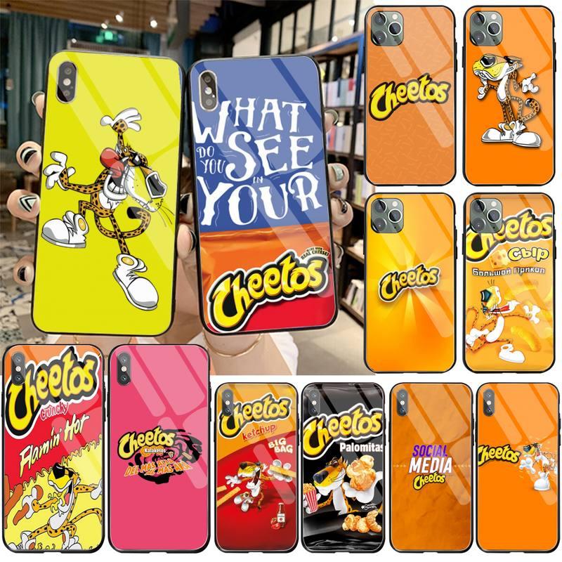 HPCHCJHM hot cheetos DIY pintado teléfono Bling caso de vidrio templado para iPhone 11 Pro XR XS MAX 8X7 6S 6 Plus SE caso De 2020