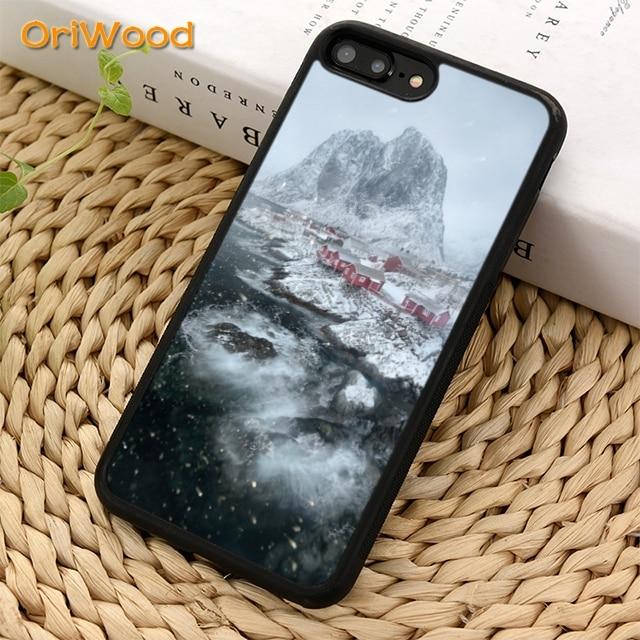 OriWood viajar a Lofoten, Noruega playa cubierta de la caja del teléfono para iPhone 5 5 s 6s 7 8 plus 11 pro X XR XS max Samsung S6 S7 S8 S9 S10