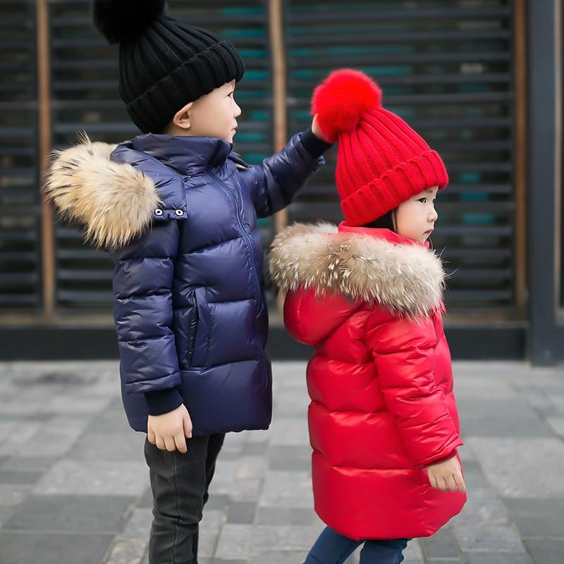 Winter Children's Jackets White Duck Down Windproof Boys Coat Real Raccoon Fur Hooded Jacket For Gir