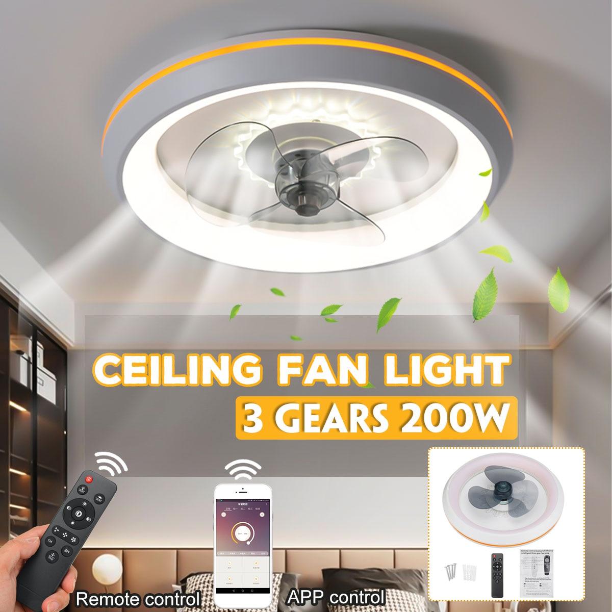 200 واط عكس الضوء LED مروحة سقف مزودة بمصباح 48 سنتيمتر مروحة الإضاءة مع التحكم عن بعد الإضاءة قابل للتعديل سرعة الرياح LED مبرد الهواء مصباح