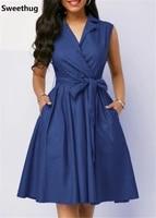 mayata office lady a line women dress solid sleeveless sashes knee length regular empire turn down collar summer dress 2019