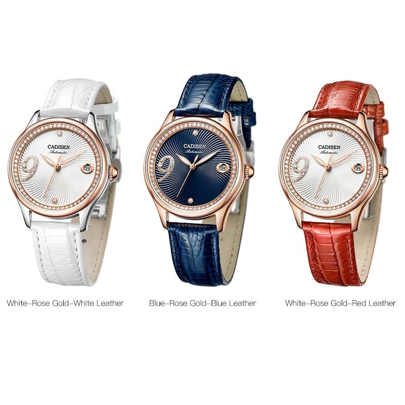 CADISEN Women Watch Automatic Leather Stainless steel Fashion Business Top Brand Luxury Waterproof Wristwatch relogio feminino enlarge