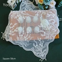 europe lace beads square 58cm embroidered table cover cloth towel kitchen tablecloth christmas wedding birthday party home decor