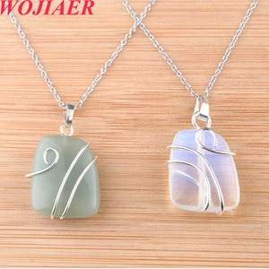WOJIAER Natural Stone Trapezoidal Pendant Healing Silver-color Wire Wrap Crystal Pink Quartz Necklaces Jewelry for Women PBO914