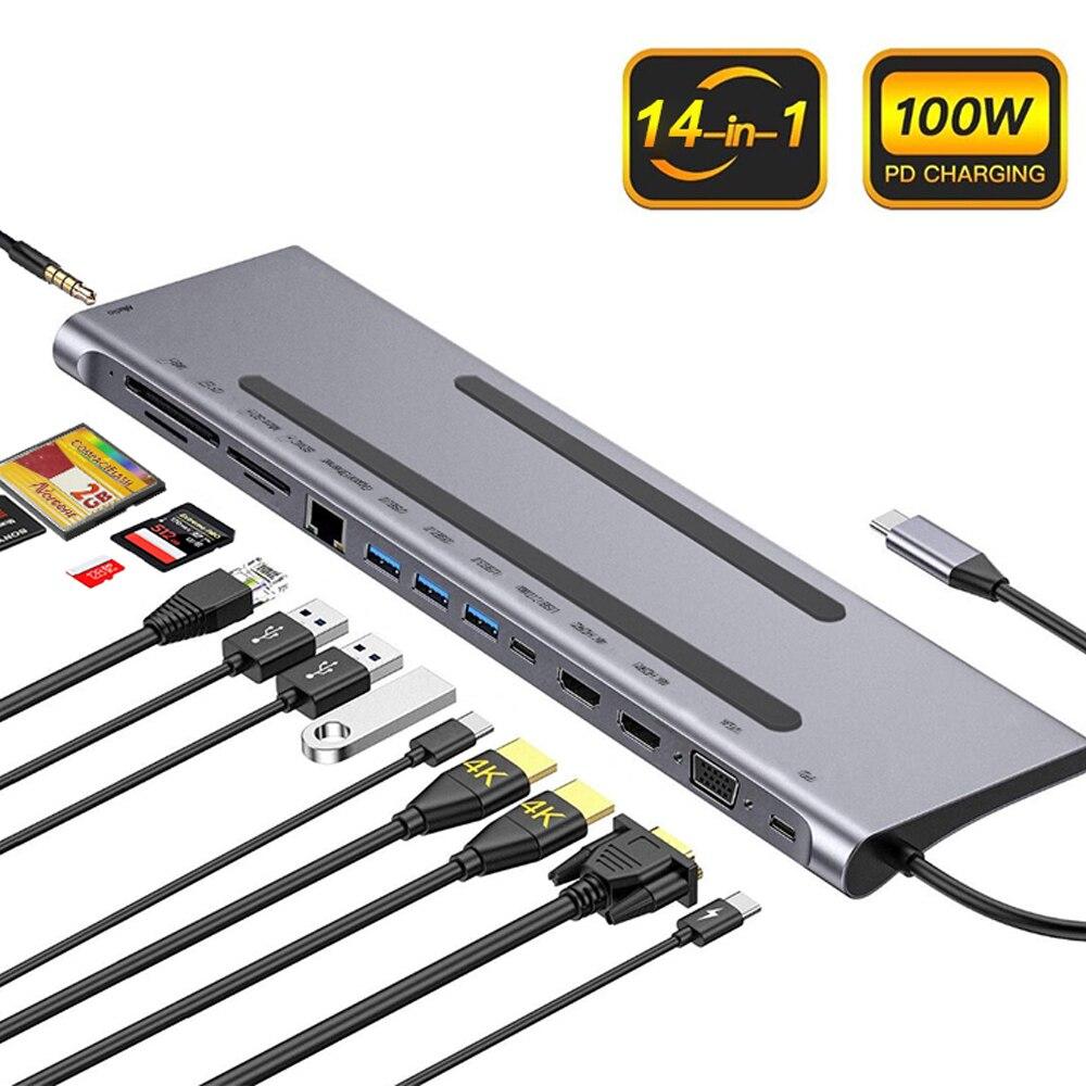 محول العرض المزدوج للكمبيوتر اللوحي والهاتف ، 14 في 1 USB C Dock Pro ملحقات الفاصل VGA RJ45 PD USB C Type C 3.1 USB Hub