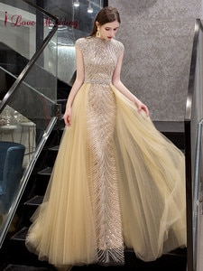 New Fashion 2020 Sexy Jewel Collar Heavy Beaded Evening Gown Cap Sleeves Trumpet Gown with Train Gold Long Evening Dresses