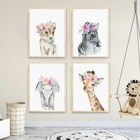 Плакат на холсте с изображением Льва, зебры, слона, жирафа, детской комнаты