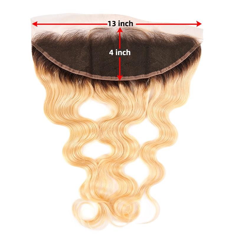 13x4 pizzo frontale onda del corpo 613 1b colorato orecchio all'orecchio capelli umani brasiliani frontale svizzero dritto nodo sbiancato con capelli del bambino