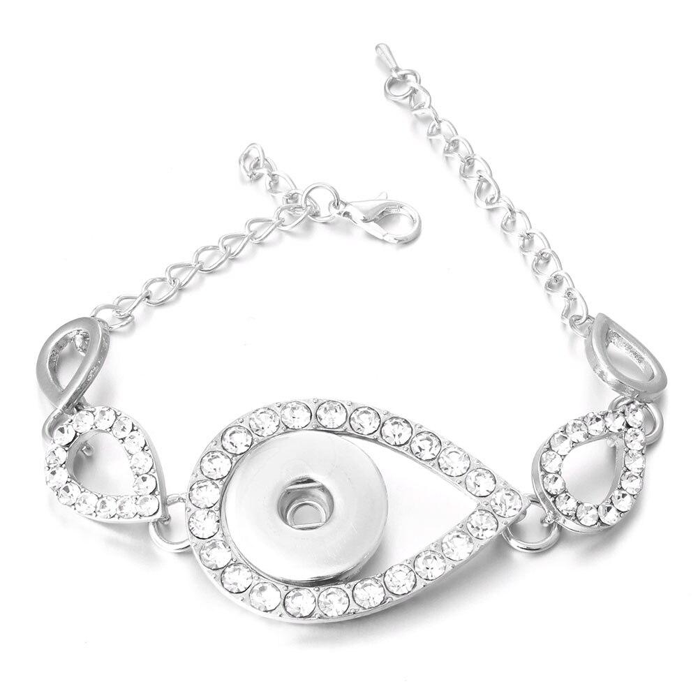 New Snap Jewelry Rose Gold Silver Color Crystal Snap Button Bracelet Bangle Heart Bracelet for Men Women ZE389