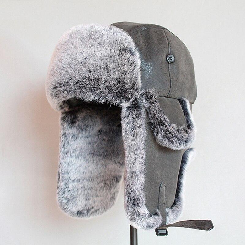 قبعات الانتحاري الشتوية للرجال قبعة Ushanka الروسية الدافئة مع الأذن رفرف بو الجلود الفراء الصياد قبعة إيرفلاب