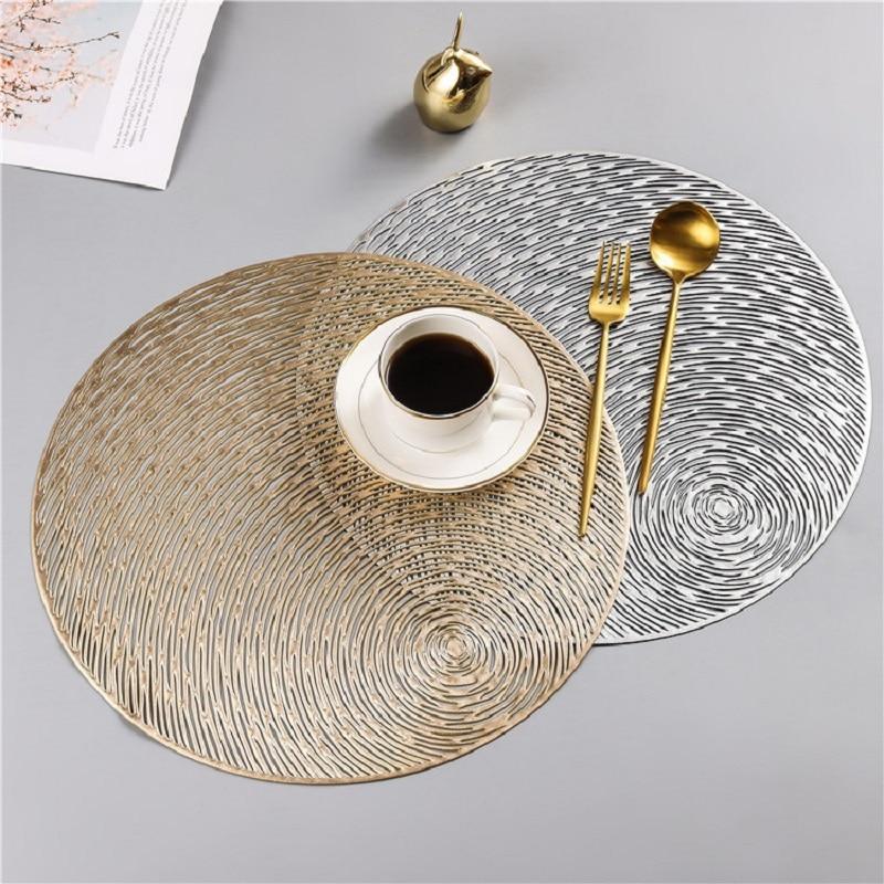 Round PVC Placemat Heat Resistant Wear Resistant Non-Slip Washable Table Mat Table Decoration Coasters