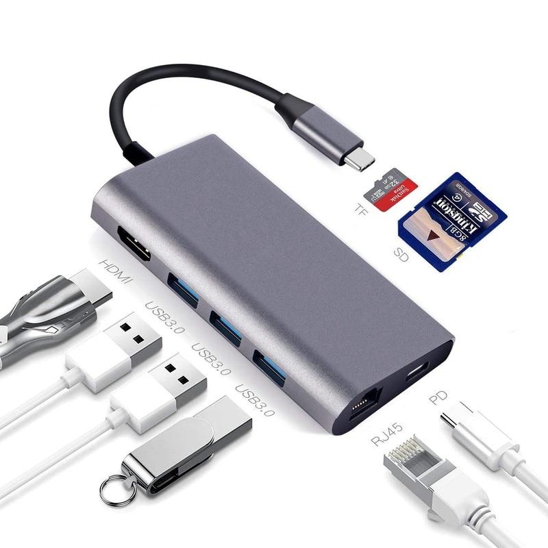نوع C إلى HDMI Hub 8 في 1 USB C محطة الإرساء 3 منفذ USB 3.0 PD شحن سريع مع SD TF قارئ بطاقة لينوفو ديل ماك بوك
