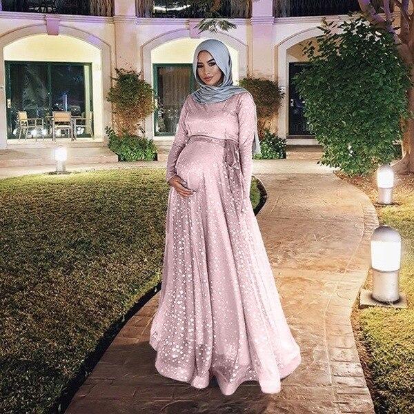 ファッションスリム女性イスラム教徒長袖デジタルプリントマタニティ夏パーティードレスドレス妊婦ドレス Q0901