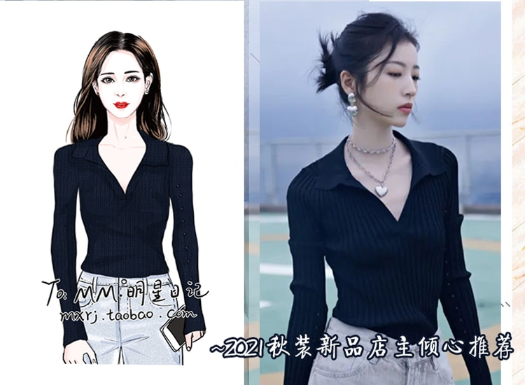 Black Sweater Top Women's Autumn New Slimming French Style Temperament V-neck Polo Shirt Sweater sweaters for women enlarge