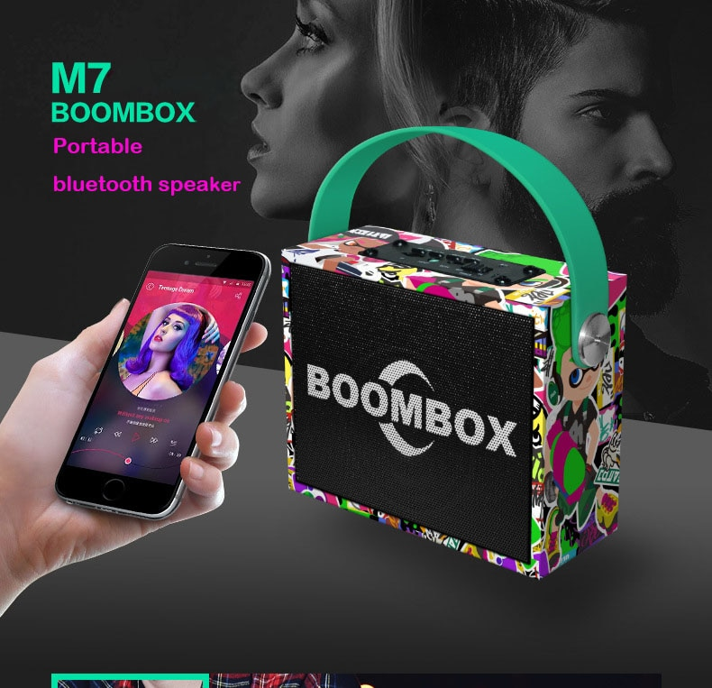 Altavoz portátil Bluetooth Mini boombox Subwoofer 3D tereo Supergraves con micrófono K Song sistema de sonido inalámbrico altavoz
