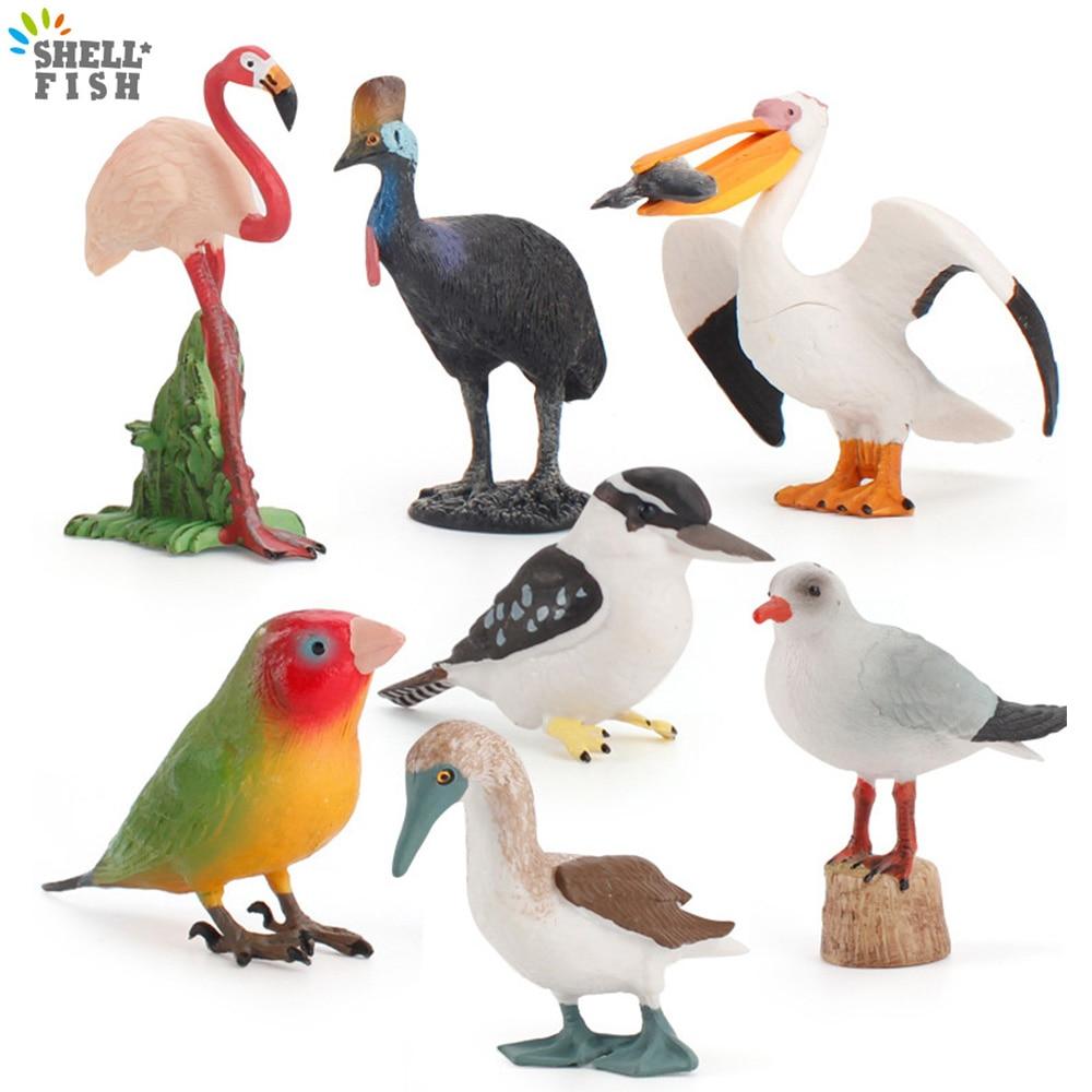 Simulation Birds Models Flamingo Pelican Macaw Lovebird Parrot Cormorant Cassowary Simulated Action Figures Home Decor Kids Gift