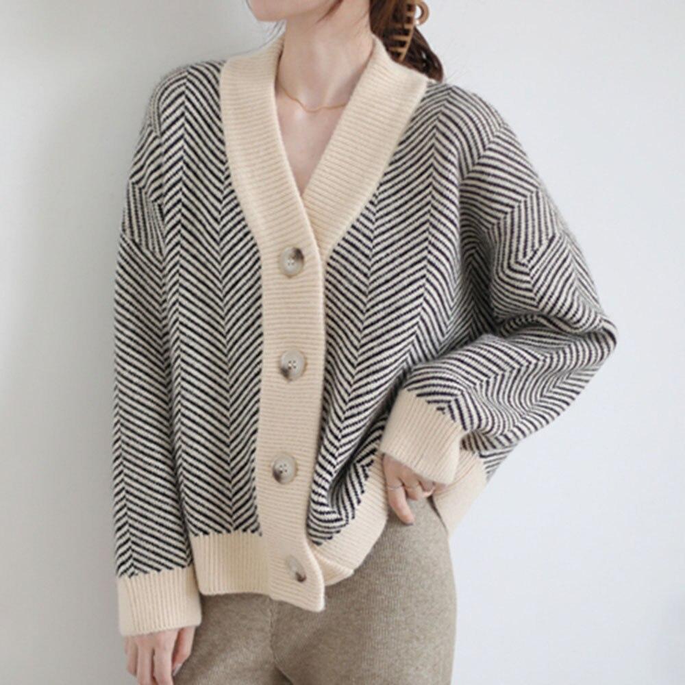 2021 wiosna jesień Retro sweter dziergany damska koszulka w paski kurtka luźna grube na co dzień pojedyncze piersi z długim sweter z rękawami Korea
