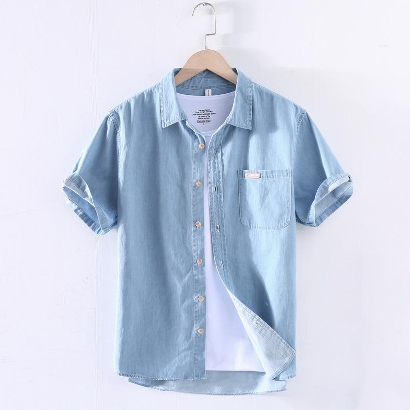 Горячая Распродажа 2021 Новая летняя Хлопковая мужская джинсовая рубашка с коротким рукавом Повседневная Модная японская мужская одежда раз...