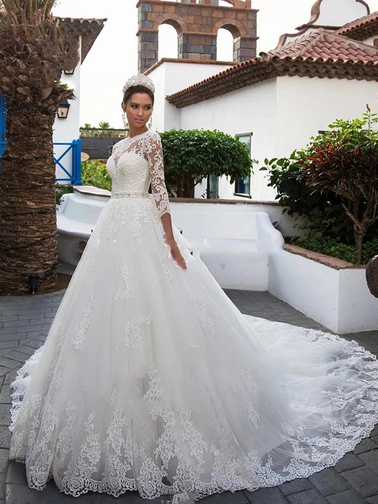 Get Luxury Wedding Dress Lace Beading With Princess Ball Gown O-neck Full Sleeve Bride Gowns Sashes Bow Lace Up Robes De Mariée