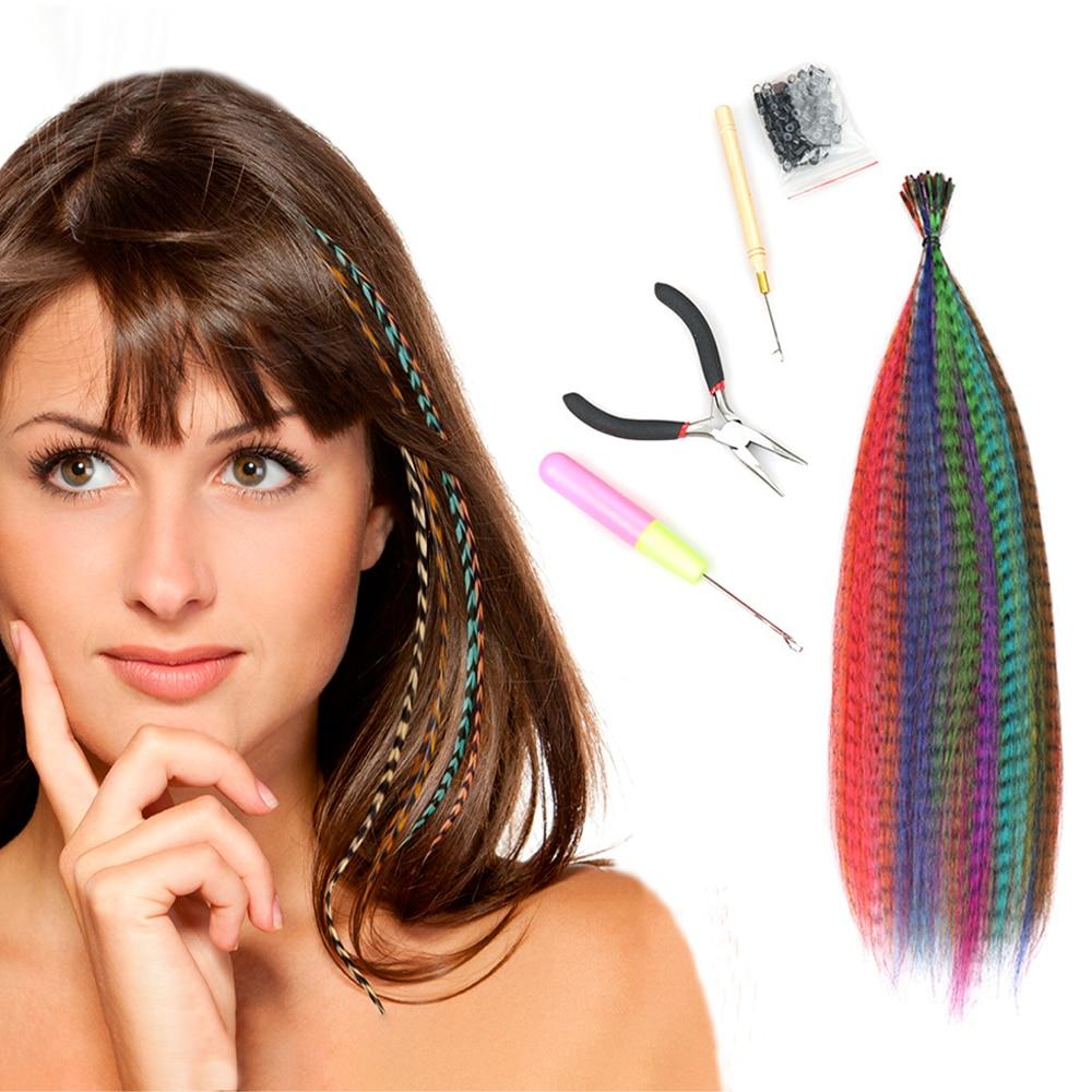 pena extensao do cabelo 40 s lote misturado cor em linha reta sintetico eu ponta