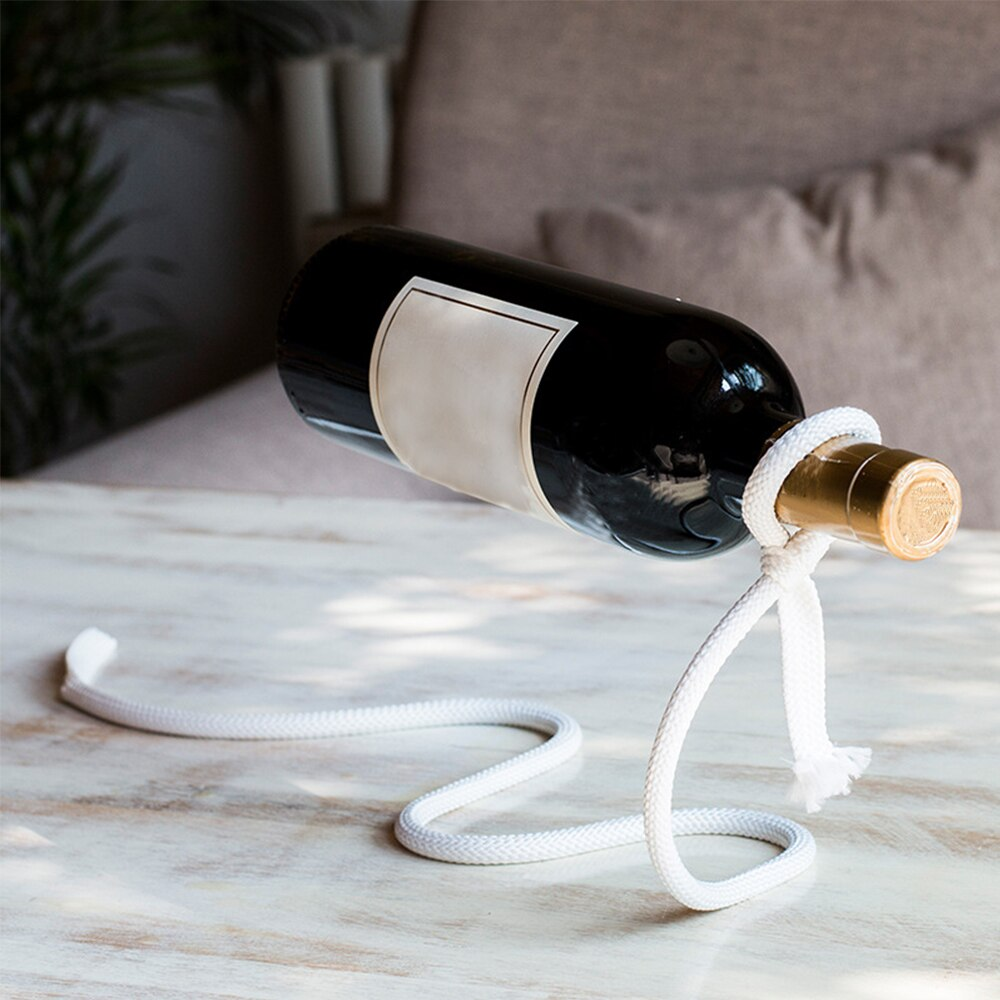 Criativo ofício corrente vinho rack magia suspendido álcool garrafa titular corda branca vinho garrafa titular barra de cozinha acessórios