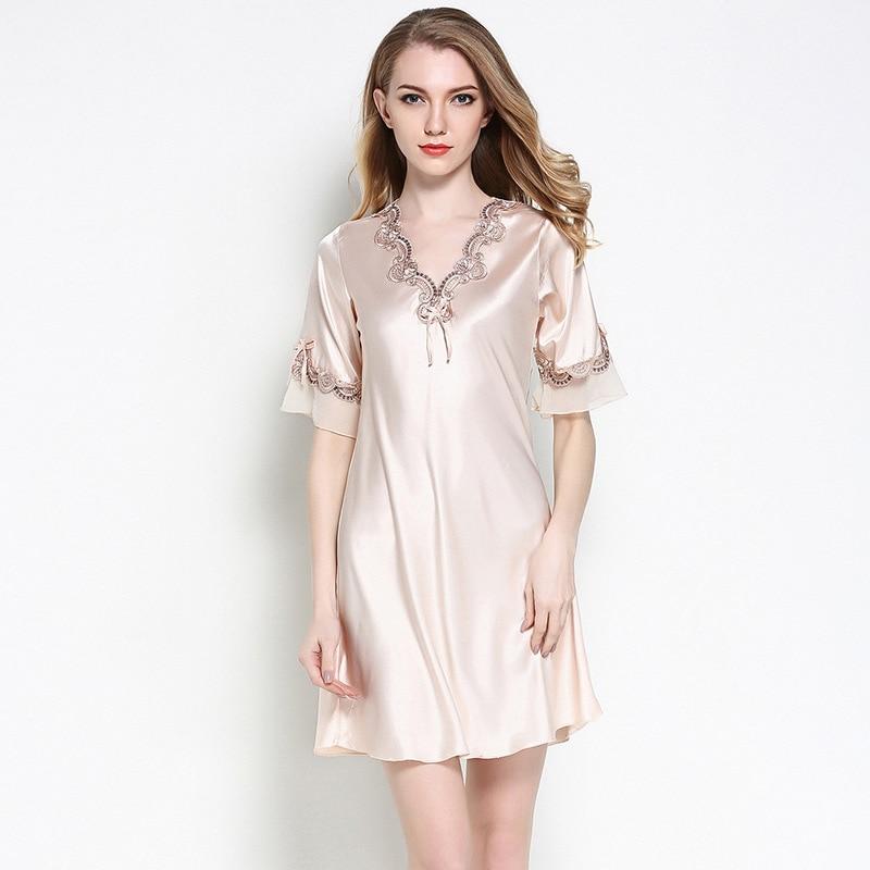 Nightgown Women Nightsuits Short Sleeve Nightshirts Pyjama Lady V-Neck Sleep Gown Lounge Nighty Robe