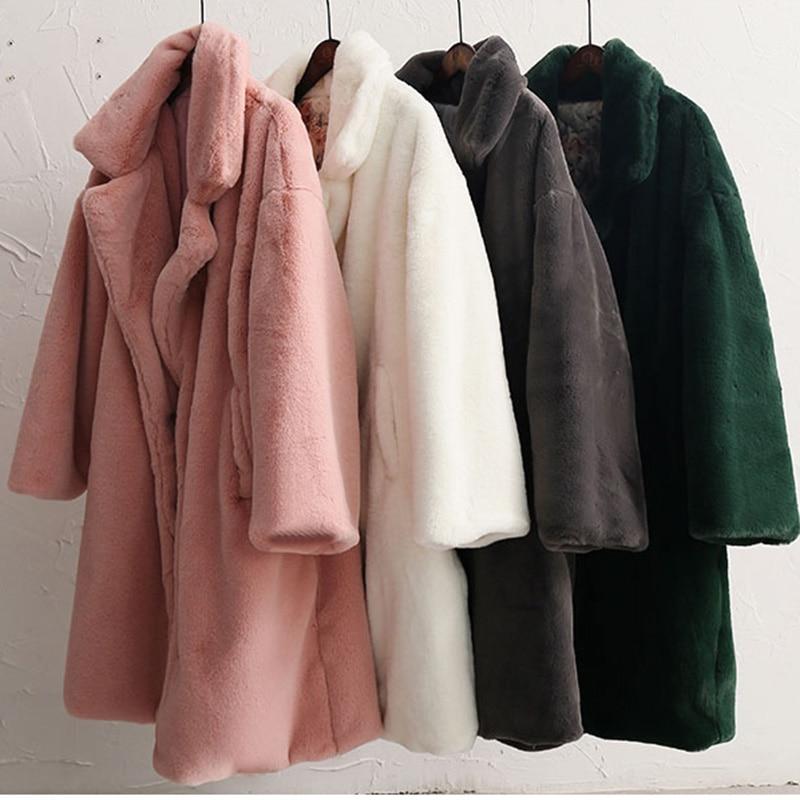 Abrigo largo de piel de lujo 2019 nuevo invierno grueso abrigo de piel de imitación cálido mujeres Festival rosa más tamaño de imitación piel de conejo abrigos abrigo de piel