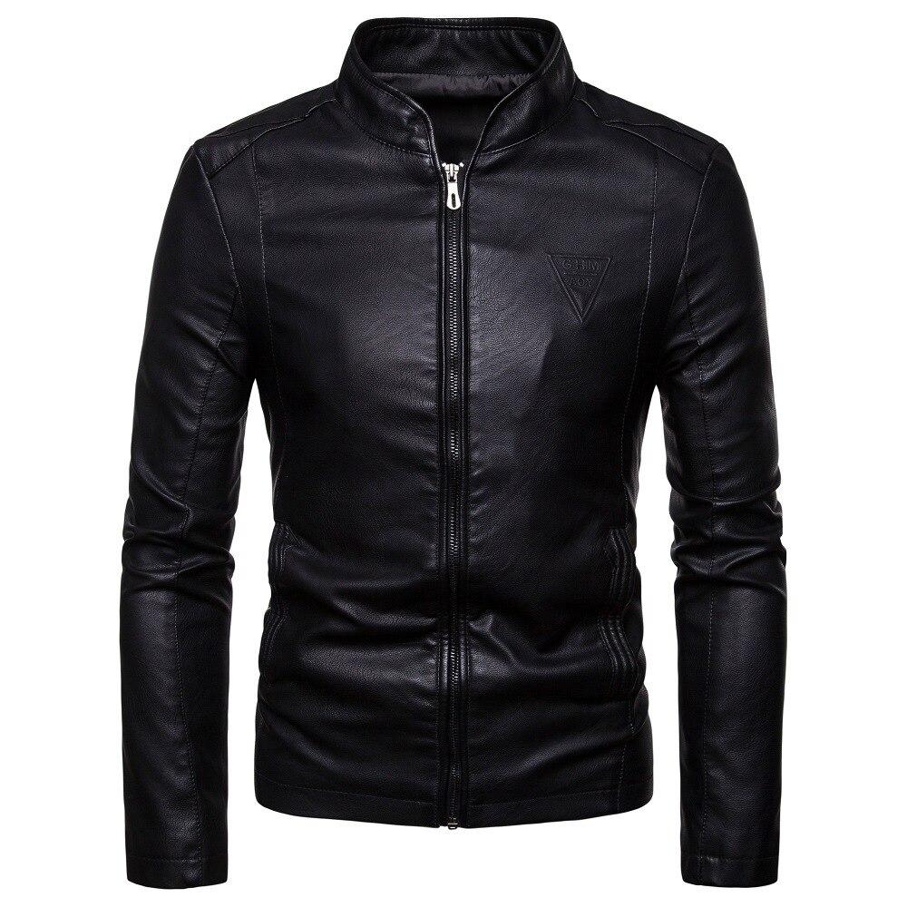 Мужские кожаные куртки на весну и осень, новая мужская Корейская версия приталенной Куртки из искусственной кожи с воротником-стойкой