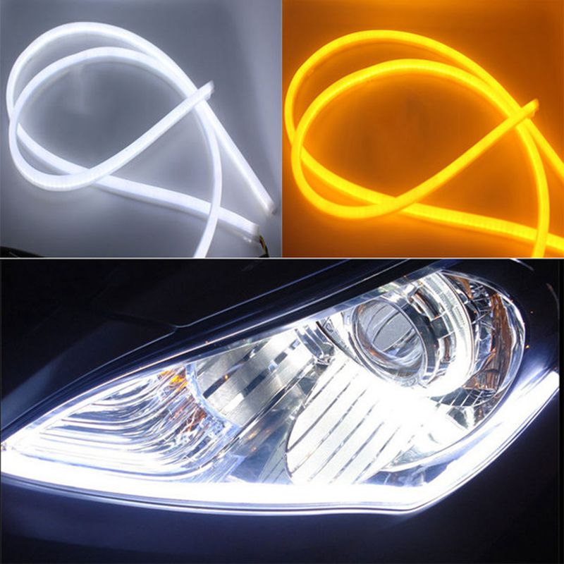 2x luces diurnas para coche 30cm 45cm 60cm Ojo de Ángel Flexible LED tira antiniebla cambiable intermitente luz de estacionamiento para toyota vw