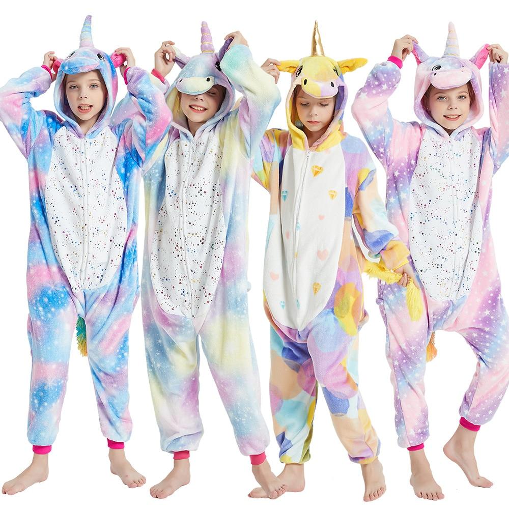 بيجامة شتوية للأطفال موديل 2020 من KIGUCOS, بيجاما شتوية للأطفال بتصميم وحيد القرن ، بيجامة قطعة واحدة للأولاد عليها رسومات كرتونية ، ملابس نوم لط...