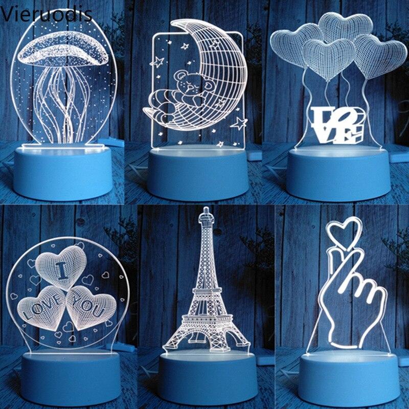 3d led night light novidade candeeiro de mesa medusa árvore natal veados neve festival presente aniversário decoração do quarto lanternas mesa