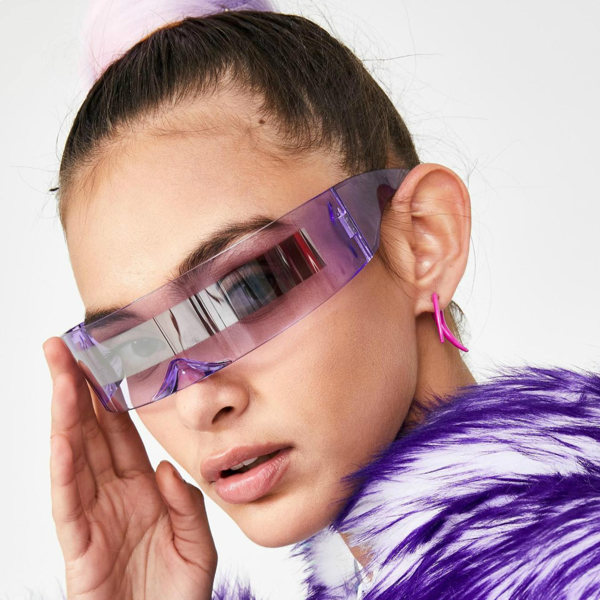 Luxry Glasses For Women Visor Wrap Shield Large Mirror Sunglasses Riding Windproof Glasses Fashion R