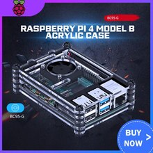Raspberry Pi 4 Model B Acryl Case Met Koelventilator + 32Gb Sd-kaart + 5V 3A Power + Heatsink + Hdmi Voor Raspberry Pi 4B