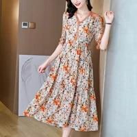 2021 summer floral mulberry silk maxi dress women casual vintage 3xl plus size print beach dresses elegant slim party vestidos