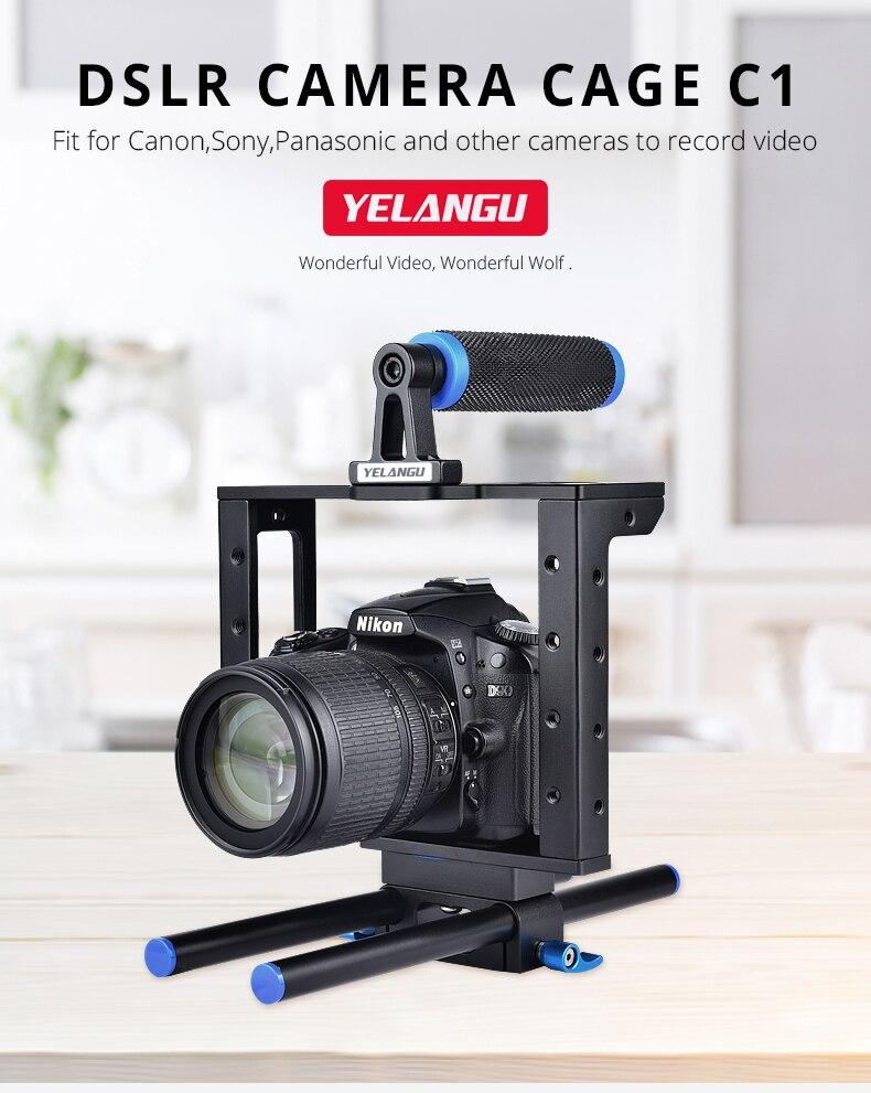 كانون DSLR هيكل قفصي الشكل للكاميرا مع 15 مللي متر قضيب تلاعب لنيكون بنتاكس 5D مارك II 7D 60D ييلانجو C1