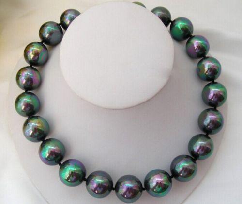 Genuino 16mm negro AB mar Concha perla collar 18 AAA
