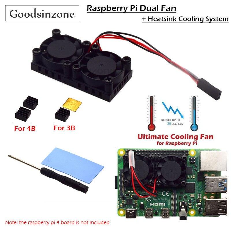 raspberry pi 4 model b acrylic case with cooling fan 32gb sd card 5v 3a power heatsink hdmi for raspberry pi 4b Raspberry Pi 4 Model B,3B+ Dual Fan with Pi 4B Heatsink Kit, Cooling Fan Kit with Tape for Raspberry Pi 4B / 3 B+