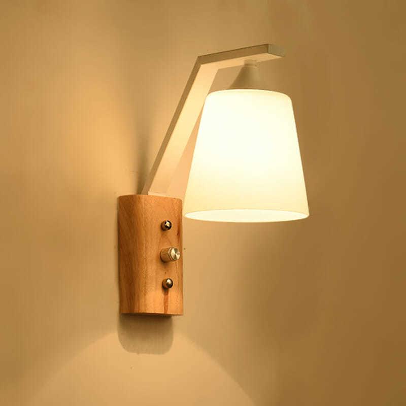 LED خشب متين الجدار مصباح مع التبديل غرفة نوم أباجورة غرفة المعيشة الجدار مصباح الممر مصباح الجدار