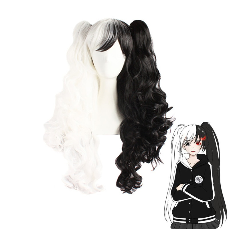 Dangan Ronpa Monokuma Long Ponytails Curly Wig Cosplay Danganronpa Heat Resistant Hair Cosplay Wig + Wig Cap