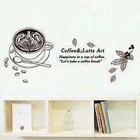 Autocollants muraux de tasse de cafe  citation de bonheur dans une tasse de cafe  Stickers muraux amovibles en vinyle  decoration de maison