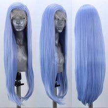 Peluca con pelo sintético atado a mano, largo, azul cielo, fibra resistente al calor, sin pegamento, para mujer, Wigsigs