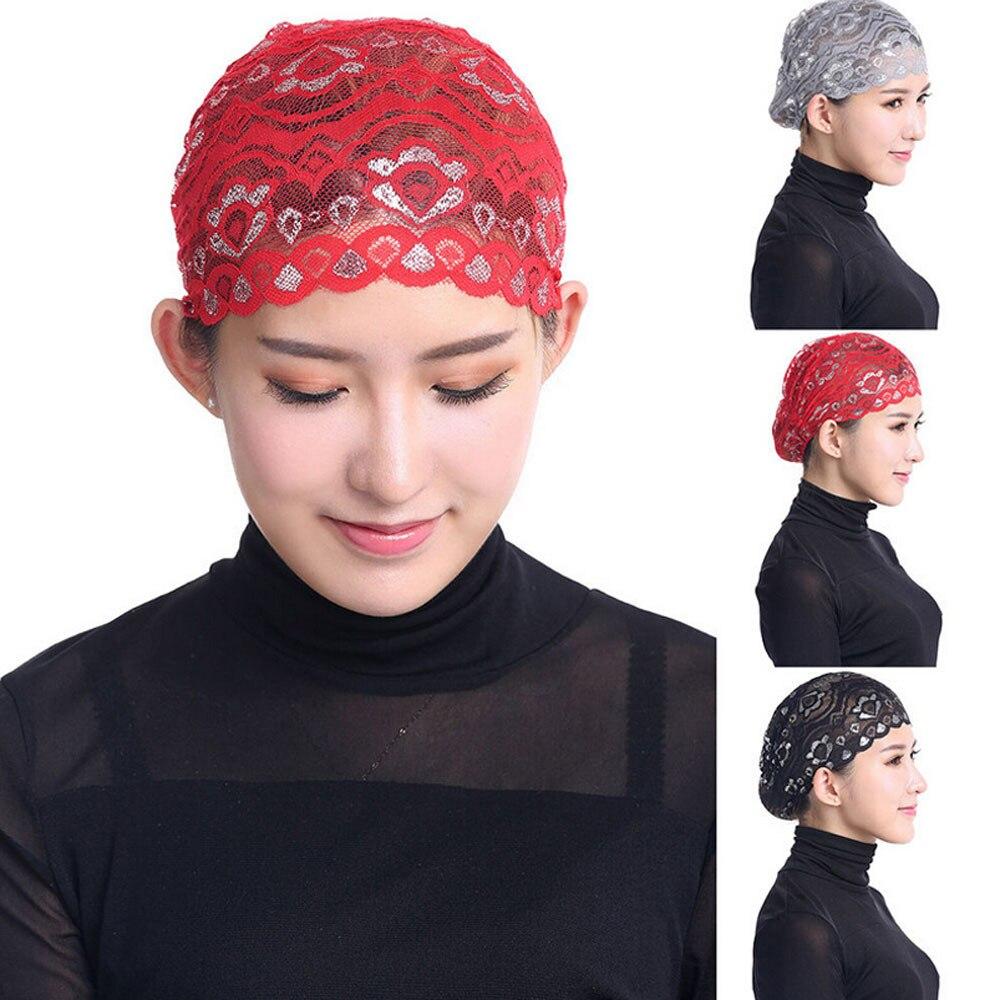 Sombrero de Hijab de encaje de la cabeza de la bufanda de la tapa islámica del casquillo de la bufanda musulmana 0804 de las mujeres