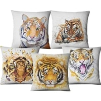 single sided printing linen decorative cushion cover animals tiger flower home decor throw pillows case for sofa car chair couch