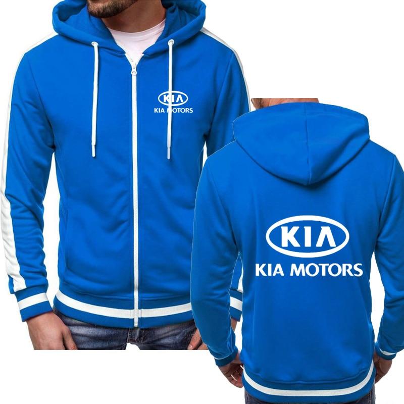 Sudaderas de hombre para KIA con logotipo de coche, moda Casual Hip Hop Harajuku, Chaqueta de manga larga con capucha y cremallera, ropa con capucha para hombre Q