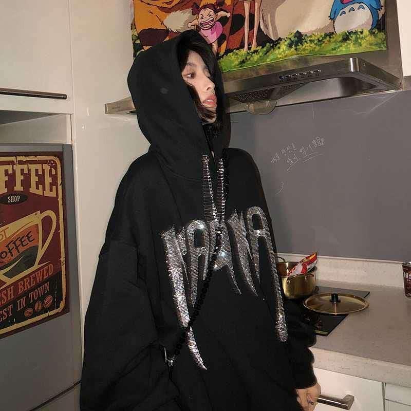Женские толстовки, сезон весна-осень-зима, черная толстовка с капюшоном, свободные топы с буквенным принтом, Женский пуловер, уличная одежда...